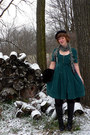 Forest-green-tulle-dress-black-vintage-hat-black-vintage-accessories-green