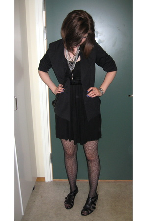 vintage blazer - dress - tights - shoes