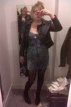 vintage shoes - blue H&M dress - H&M jacket