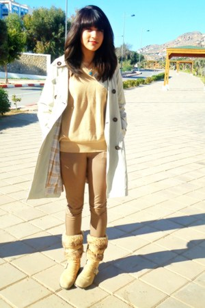 beige thrifted coat - mustard unknown brand boots - mustard Emidio Tucci sweater