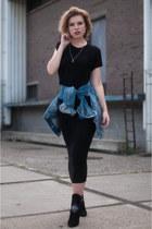 blue Pepe Jeans jacket - black sacha shoes boots - black H&M dress