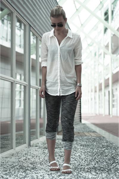 white H&M shirt - silver ray-ban sunglasses - charcoal gray SwayChic pants