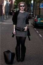 black Sacha boots - heather gray H&M dress - black Zara coat - black Zara bag