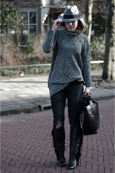 heather gray H&M hat - black Sacha boots - gray Mango jeans