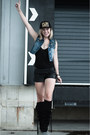 Black-h-m-new-icons-boots-black-coolcat-hat-black-vintage-shorts