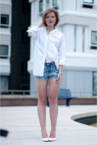 white Zara shirt - light blue the Sting shorts - white Mango wedges