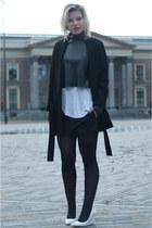 black Zara coat - black Zara top - black Zara skirt - white Zara vest