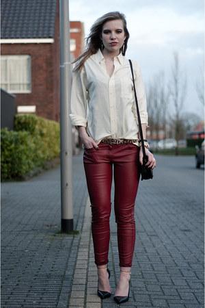 black Shop Affaire bag - cream vintage shirt - crimson Pimkie pants