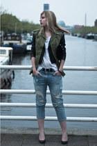 forest green Zara jacket - black Oasis jacket - sky blue Zara jeans