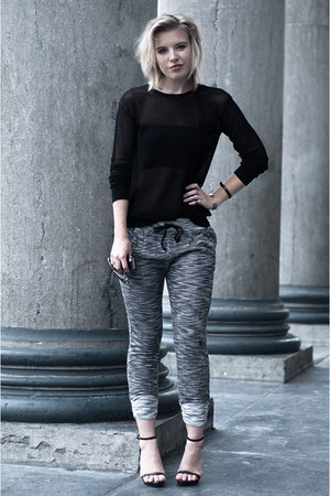 black Zara sweater - dark gray SwayChic pants - black Mango bra