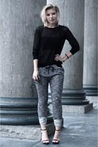 black Zara sweater - dark gray SwayChic pants - black Mango bra