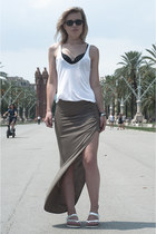 olive green River Island skirt - black ray-ban sunglasses - black Ebay bra