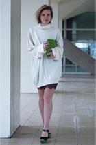 white Maison Martin Margiela for H&M sweater - black lingerie lace Zara dress