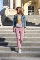 tawny Zara sunglasses - sky blue H&M jacket - white H&M t-shirt