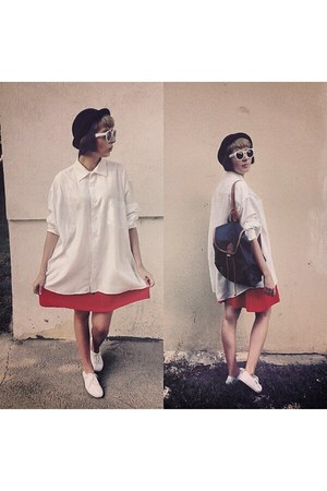 white vintage shirt - red vintage skirt - navy vintage accessories