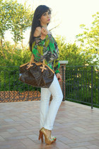 green blouse - brown Louis Vuitton bag - gold Lovely wholesale sandals