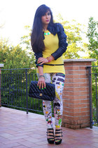 green necklace - white leggings - black Chanel bag - yellow Bellissima top
