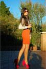 White-foymall-shirt-orange-firmoo-sunglasses-hot-pink-noirlu-necklace