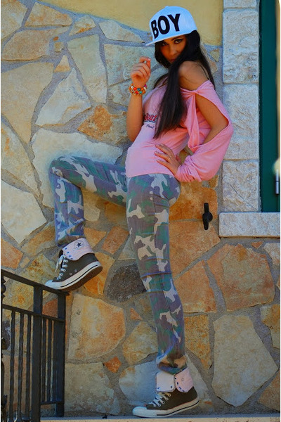 white Choies hat - army green Converse sneakers - pink phard top
