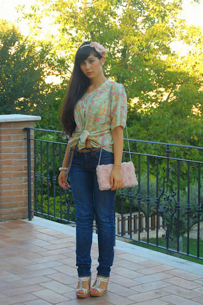 lime green vintage blouse - blue Ralph Lauren jeans - light pink H&M bag