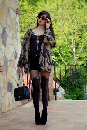 black Aldo boots - black Chanel bag - black Fendi sunglasses