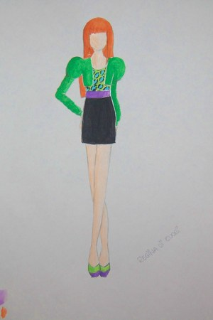 purple belt - green blazer - aquamarine and green leopard top - black skirt