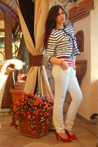 navy romwe blazer - white take two jeans - red heels - red top