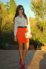White-foymall-shirt-orange-firmoo-sunglasses-hot-pink-noirlu-necklace