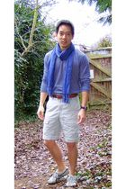 blue Uniqlo shirt - beige united colors of benetton shorts - brown Onitsuka shoe
