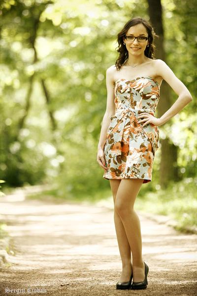 peach bay dress - black heels