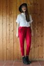White-oasap-shirt-brick-red-oasap-pants