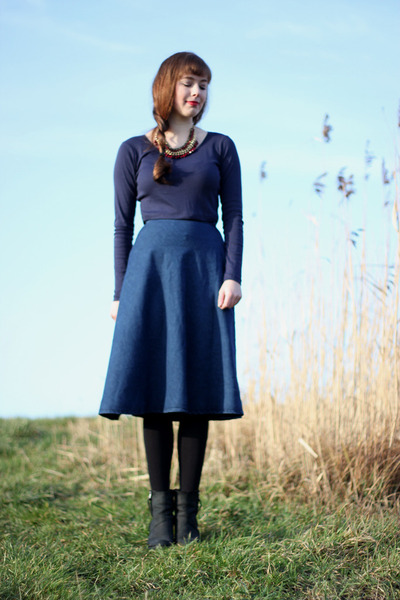 blue PERSUNMALL skirt - navy Primark shirt - brick red Primark necklace