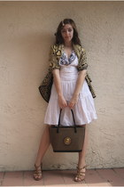 olive green Kenyan scarf - light brown Kenyan bag - white Macys dress - white Ta