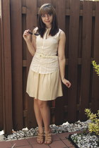 black Target sunglasses - cream modcloth blouse - cream threadsence dress - came