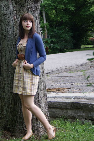 blue delias cardigan - brown Wet Seal belt - yellow Charlotte Russe dress - brow