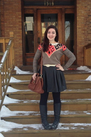 red Urban Outfitters sweater - black Macys boots - black H&M tights