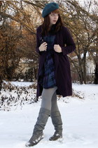 teal H&M hat - deep purple sears cardigan - deep purple Urban Outfitters dress -