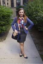 ruby red plaid modcloth blouse - blue Urban Outfitters blazer