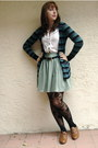Teal-urban-outfitters-cardigan-white-thrifted-blouse-aquamarine-american-app