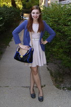 beige H&M dress - blue Urban Outfitters blazer - black modcloth bag