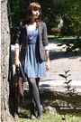 Gray-urban-outfitters-blazer-blue-urban-outfitters-dress-brown-modcloth-purs