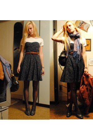 American Eagle dress - Zara shoes - Hanes t-shirt - Members Only jacket
