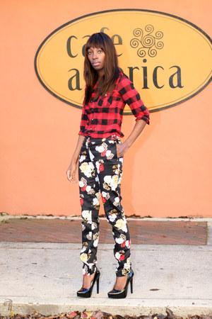 plaid Marshalls shirt - floral H&M pants - black Kelsi Dagger pumps