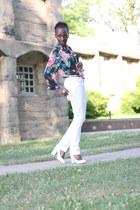 floral print H&M blouse - Guess jeans