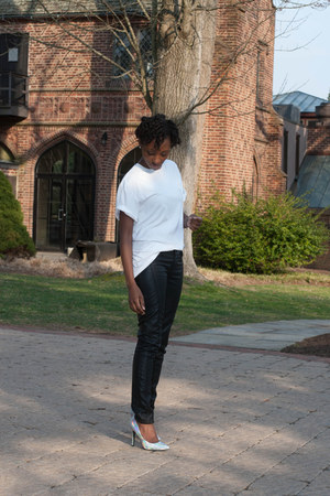 faux leather Topshop pants - mens Ralph Lauren t-shirt