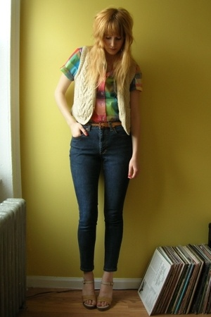 thrifted vest - thrfited blouse - thrifted and self-altered jeans - vintage from