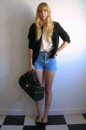 white thrifted blouse - blue thrifted shorts - black vintage chanel cardigan - b