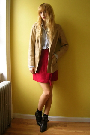 vintage skirt - JCrew shirt - vintage coat - vintage Dingo boots