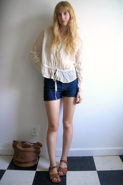 white antique handmade Russian blouse - blue Cheap Monday shorts - brown Saltwat
