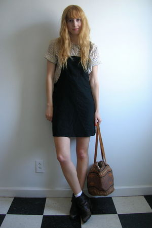 black thrifted dress - purple Liberty print blouse - brown Dingo boots - brown v